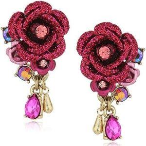 Betsey Johnson Glitter Rose Dangle Stud Earrings